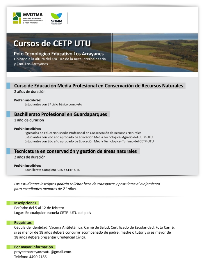 OFERTA EDUCATIVA CONSERVACION GUARDAPARQUES Y GESTION AREAS NATURALES  CETP UTU